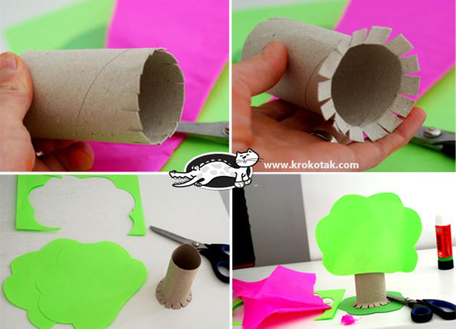 arvore de material reciclavel tubo de papel higienico
